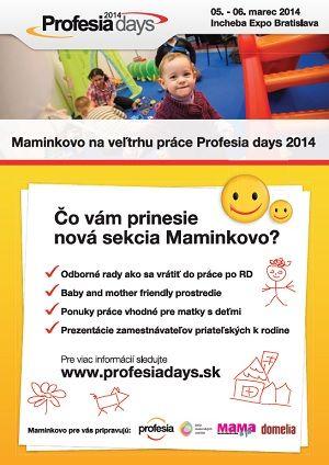 Veľtrh práce Profesia days prinesie samostatnú sekciu Maminkovo